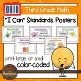 """Ohio Standards for Third Grade MATH """"I Can"""" Posters and Statement Cards"""