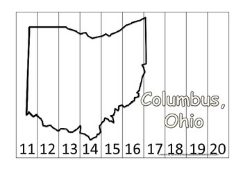 Ohio State Capitol Number Sequence Puzzle 11-20.  Geography and Numbers.