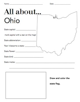 Ohio State Facts Worksheet: Elementary Version