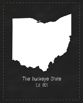Ohio State Map Class Decor, Government, Geography, Black and White Design