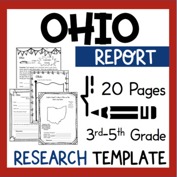 Ohio State Research Report Project Template + bonus timeline craftivity OH