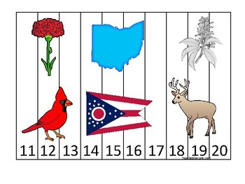 Ohio State Symbols themed 11-20 Number Sequence Puzzle Preschool Game.