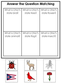 Ohio State Symbols themed Answer the Question Preschool Literacy Game.