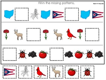 Ohio State Symbols themed Fill In the Missing Pattern Preschool Math Game.