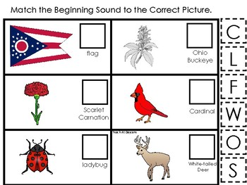 Ohio State Symbols themed Match the Beginning Sound Preschool Phonics Game.