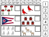 Ohio State Symbols themed Match the Number Preschool Math and Counting Game.