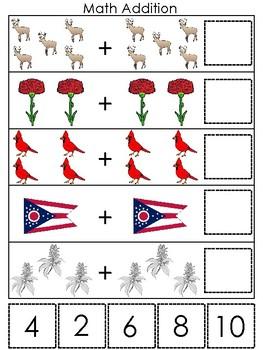Ohio State Symbols themed Math Addition Preshool Learning Math Game.