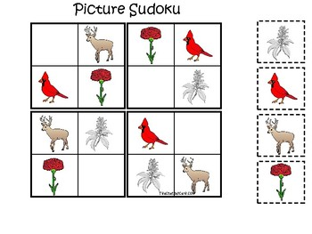 Ohio State Symbols themed Picture Sudoku Preschool Learning Math Game.