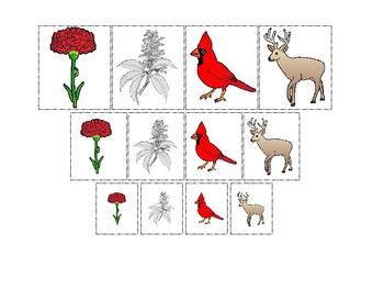 Ohio State Symbols themed Size Sorting Printable Preschool Math Game.