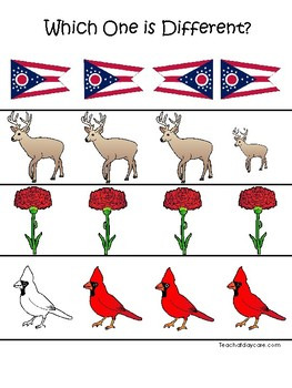 Ohio State Symbols themed Which One is Different Preschool Math Game.