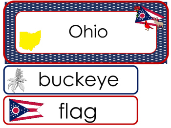 Ohio State Word Wall Bulletin Board Set. Geography Curriculum.