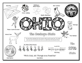 Ohio Symbols Coloring Sheet