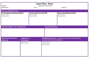 Ohio Third Grade Fine Arts Music and Visual Art Lesson Plan Templates