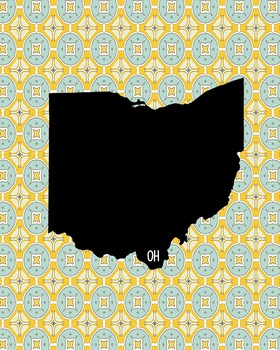 Ohio Vintage State Map or Poster Class Decor Decoration