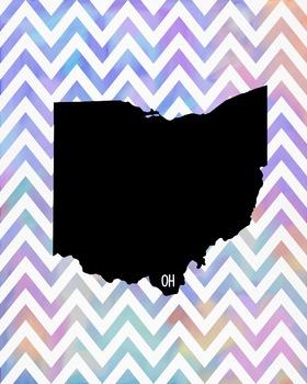 Ohio Chevron State Map Class Decor, Classroom Decoration