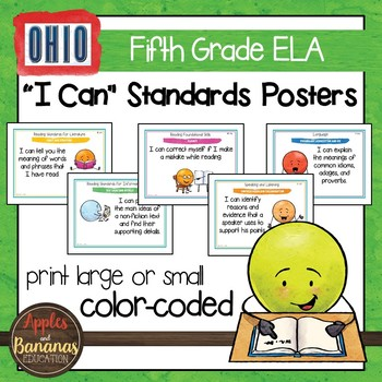 """Ohio's Learning Standards Fifth Grade ELA """"I Can""""  Posters and Statement Cards"""