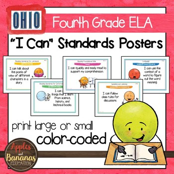 "Ohio's Learning Standards Fourth Grade ELA ""I Can""  Posters and Statement Cards"