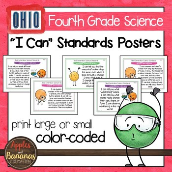 "Ohio's Learning Standards for Science - Fourth Grade ""I Can"" Posters"