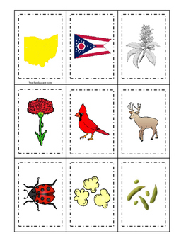 Ohio themed Memory Matching and Word Matching preschool curriculum  game