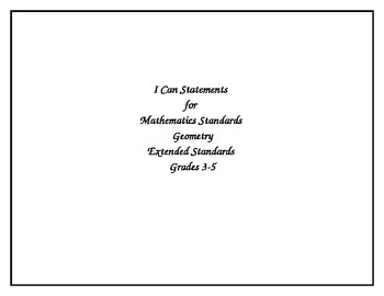 Ohio's Academic Content Standards-Extended Math Grades 3-5 I Can Posters
