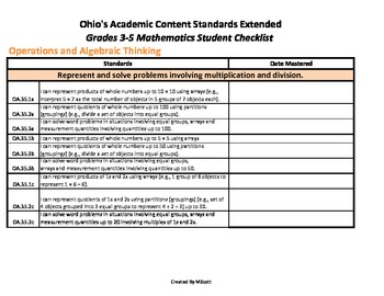 Ohio's Academic Content Standards Extended Student Checklists Grades 3-5 Math