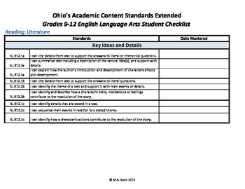 Ohio's Academic Content Standards Extended Student Checklists Grades 9-12 ELA