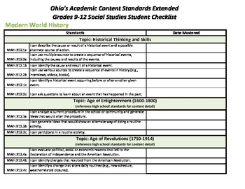Ohio's Academic Content Standards Extended Student Checklists Grades 9-12 SS