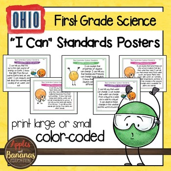 "Ohio's Learning Standards for Science - First Grade ""I Can"