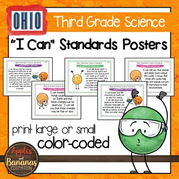 """Ohio's Learning Standards for Science - Third Grade """"I Can"""" Posters"""