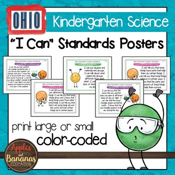 """Ohio's Learning Standards for Science - Kindergarten """"I Can"""" Posters"""