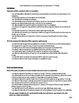 Ohio's New Learning Science Standards - I Can Statements