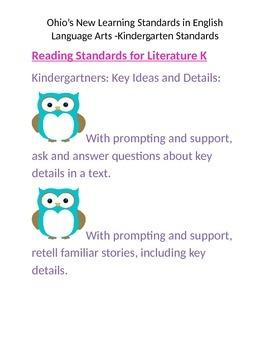 Ohio's New Learning Standards for Kindergarten (Literature)
