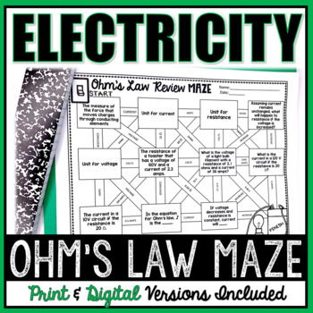 ohm 39 s law electricity maze worksheet by the trendy science teacher. Black Bedroom Furniture Sets. Home Design Ideas