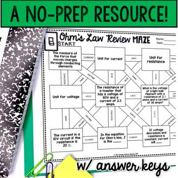 Ohm's Law (Electricity) Maze Worksheet