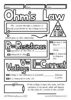 Ohm's Law Middle and High School Physics Doodle Notes