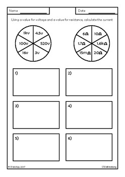 Ohm's Law Spinners Worksheets, Middle and High School Physics