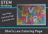 Ohm's Law V= IR Quiz Coloring Page Test Prep Review