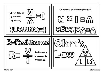 Ohm's Law, Voltage, Resistance, Current Mini Foldable Physics Book