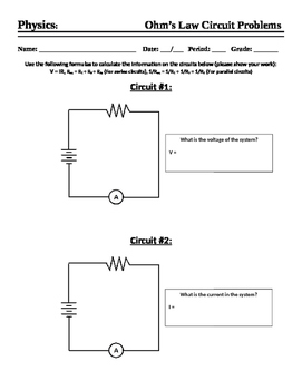 Ohms Law Worksheet Teaching Resources Teachers Pay Teachers