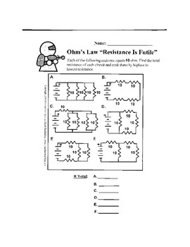 Ohm's Law and Resistance Worksheet - Resistance is Futile