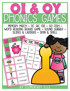 Oi and Oy Dipthongs Phonics Games {Literacy Centers}