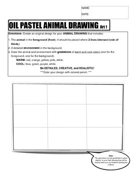 Oil Pastel Animal Drawing Sketch Worksheet