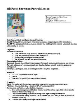Oil Pastel Snowman Portrait Lesson