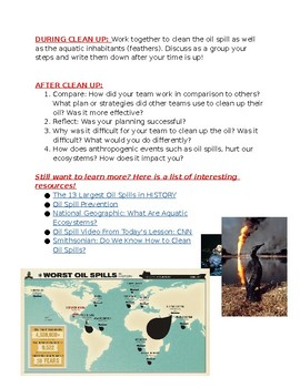 Oil Spill Challenge Activity Sheet
