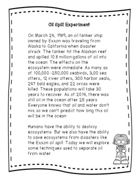 Oil Spill Cleanup Experiment Using the Scientific Method