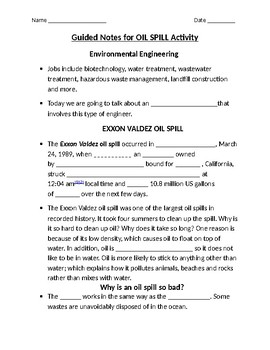 Oil Spill Cleanup Guided Notes