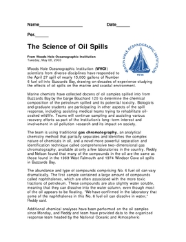 Oil Spill News Article with questions (pollution solutions)