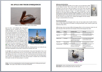 Oil Spills and Their Consequences - Science Reading Article - Grades 5-7