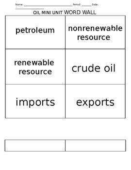 Oil Wall Graphic Organizer and Flashcards!