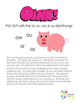 Oink! oi, oy, ou ow diphthongs (variant vowels)